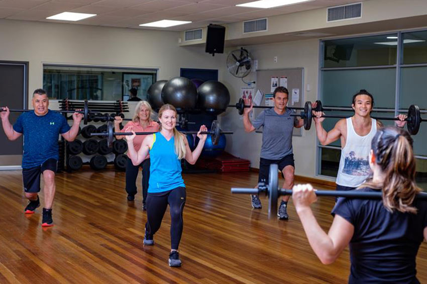 Group exercises with weights at AUT gym